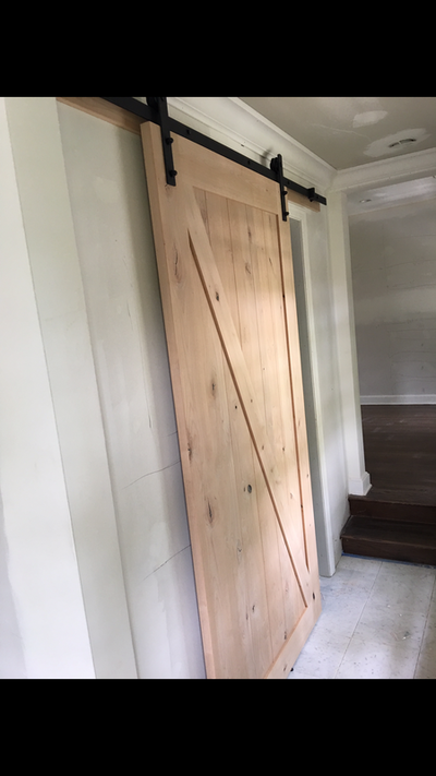 Unpainted barn door